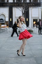 red asos skirt - white asos top - black J Crew pumps