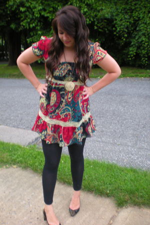 black tights - red shoes - dress - gold necklace