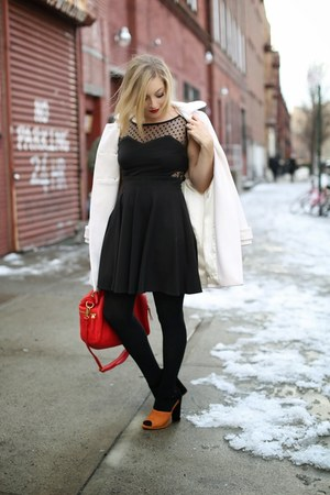 white white coat Old Navy coat - black black dress dress - red bag Fossil bag