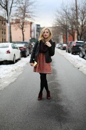 black Mango jacket - maroon booties Dolce Vita boots