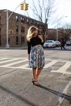 black Nasty Gal top - light blue paris print Pinup Couture skirt