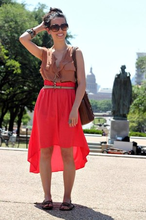 coral cotton on skirt - Aldo sunglasses - Forever 21 belt - Forever 21 ring