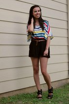 Old Navy top - Forever 21 shorts - Target wedges - Forever 21 belt