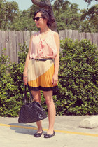 mustard Sugarlips skirt - Nine West bag - black Forever 21 flats