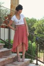 Tan-gojane-wedges-white-old-navy-top-salmon-forever-21-skirt