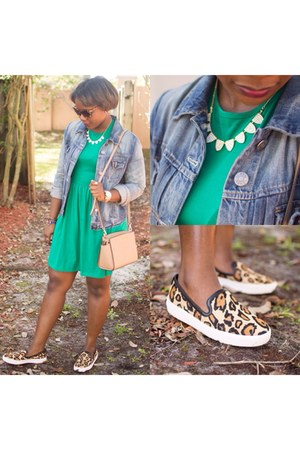 green asos dress - blue asos jacket - sam edelman sneakers