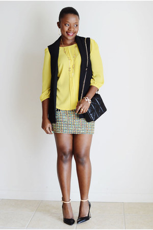 Forever 21 vest - Forever 21 shirt - JCrew skirt - Zara heels