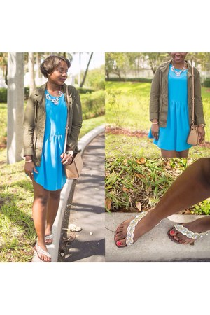 sky blue dress - olive green Old Navy jacket