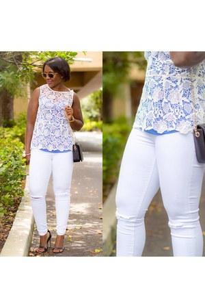 blue JCrew top - white top - Express jeans