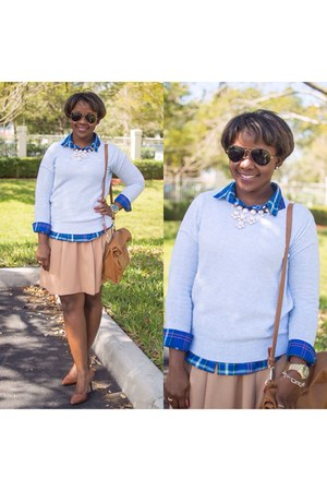 light blue sweater - bronze Forever 21 skirt