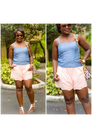 peach J Crew shorts - sky blue top - white sandals