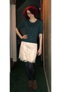 Teal-h-m-sweater-ivory-forever-21-skirt-tawny-urban-outfitters-boots-gray-
