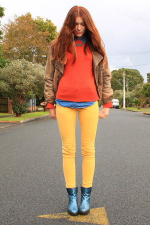 blue Glassons shirt - turquoise blue Ruby boots - mustard Ruby jeans