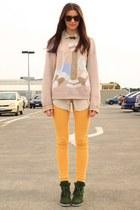 light pink vintage sweater - mustard Ruby jeans - dark khaki vintage shirt