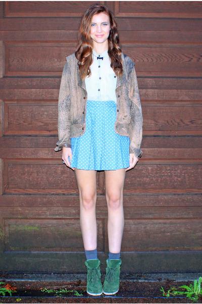 blue huffer skirt - brown vintage jacket - lime green vintage shirt