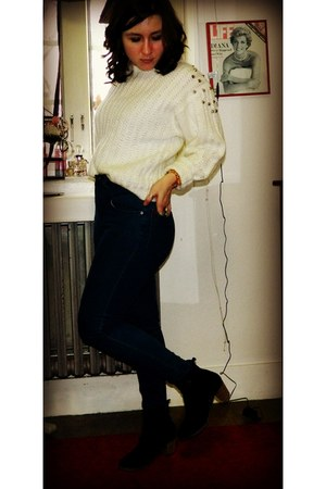 thrifted & diy sweater - H by Halston boots - BDG jeans