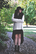 black H&M boots - black Forever 21 dress - black thrifted hat