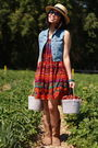 Red-vintage-skirt-as-dress-dress-blue-gap-kids-vest-yellow-h-m-straw-hat-hat