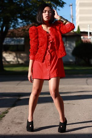 black random shoes - red vintage dress - red H&M garden collection blazer