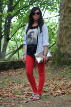 red Zara jeans - silver Stradivarius bag - black Pull & Bear t-shirt