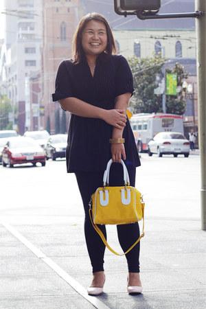 yellow MayMay bag - black Forever 21 leggings - black Wet Seal shirt