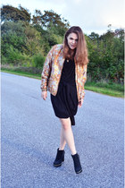 black River Island boots - black DSTM dress - burnt orange H&M Trend jacket