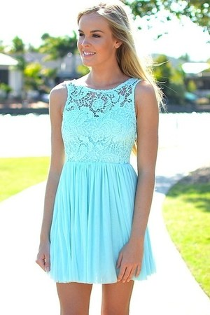 aquamarine silk Chanel dress