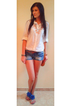 orange no name necklace - white Mexx shirt - navy no name shorts