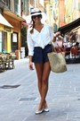 Navy-hm-shorts-white-zara-blouse