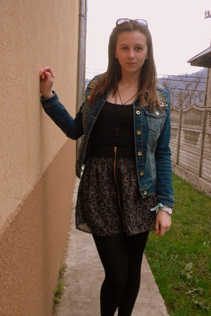 black zara shirt - blue stradivarius jacket - black pimkie skirt