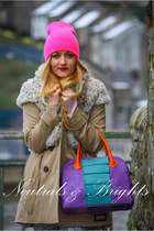 tan F&F coat - hot pink unknown hat - violet designed by me ArtBag bag