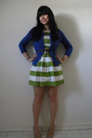 periwinkle H&M cardigan - green striped Forever 21 dress - brown H&M belt