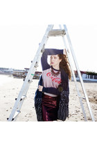 maroon leather asos skirt - navy mohair D&G sweater - navy wool Lalo cardigan