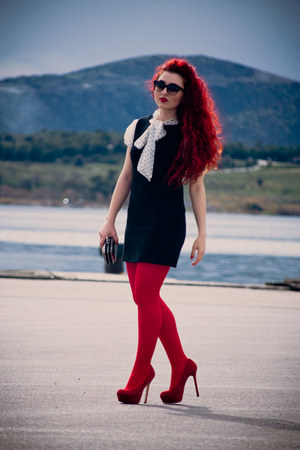 black vintage dress - ruby red Wolford tights - deep purple dior sunglasses