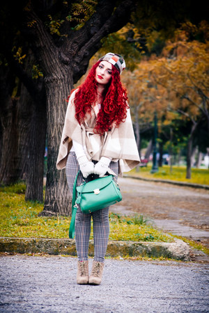 green OASAP bag - tan Zara boots - camel H&amp;M leggings - beige benetton cape