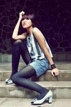gray abercrombie and fitch top - blue Sisley shorts - black random brand stockin