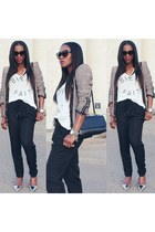 madewell t-shirt - Chloe shoes - Zara jacket - Marni bag - Prada sunglasses