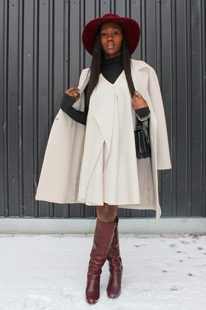 Chloe boots - 31 Phillip Lim dress - Hugo Boss coat - Patricia Underwood hat