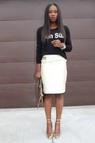 Jcrew sweater - Gucci bag - Jcrew heels - madewell skirt