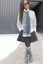 calvin klein sweater - Hunter boots - Moschino scarf - t by alexander wang skirt