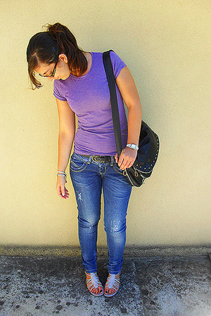 navy Bershka jeans - black Stradivarius bag - violet Local store sandals