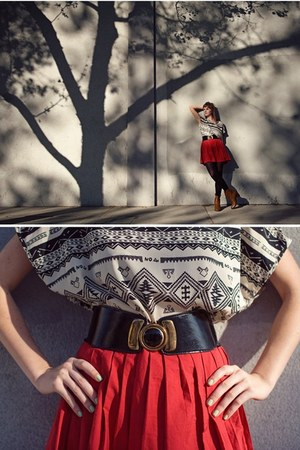 cowboy boots - red pleated skirt - waist belt - tribal top