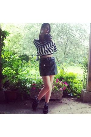 white Stradivarius top - black Ebay shoes - black Pimkie skirt