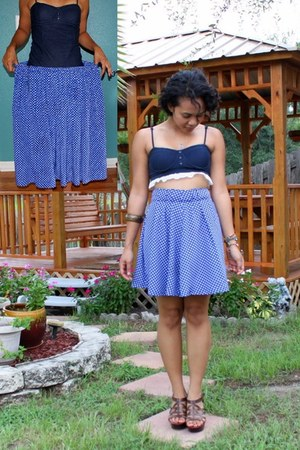 blue floral print thrifted skirt - navy faux denim energie top