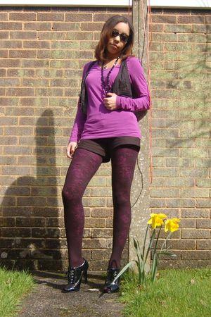 black Primark tights - purple Primark tights - black barretts boots - purple Pri