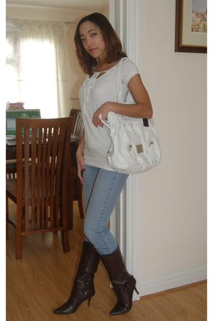 blue Charlotte Russe jeans - white Jane Norman purse - brown boots - white t-shi