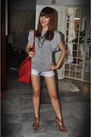 gray Mango top - blue Cotton-on shorts - brown shoes - red - silver diva necklac