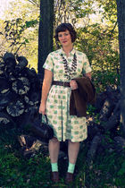 white vintage dress - brown JC Penney necklace - brown delias belt - brown Talbo