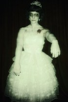 white vintage dress - white tiara accessories - light pink Karen Scott sandals