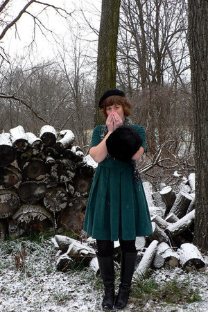 black wool vintage hat - black leather Frye boots - forest green Tulle dress